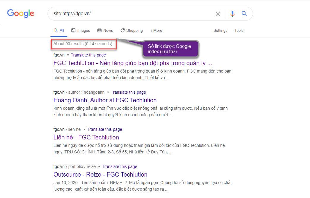 Đây là các index của website fgc.vn