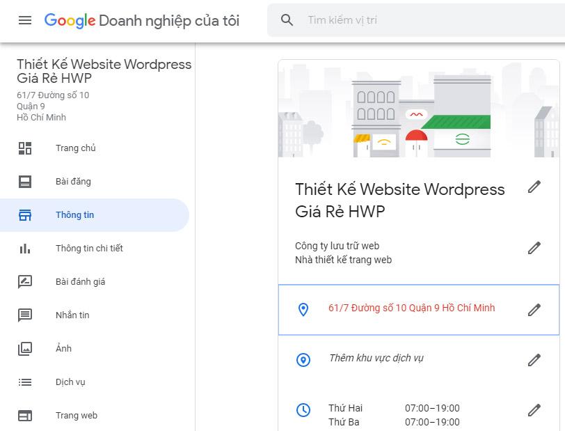 Chỉnh sửa thông tin Google doanh nghiệp